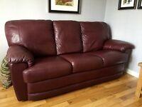 3 seater leather sofa and armchair : deep burgundy