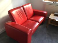 Stressless RED leather Sofa, perfect condition, reclining seat and back.