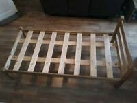 Pine bed frame and mattress