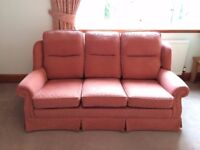 Large three seater sofa and 2 matching armchairs with cushions, very good condition, collection only