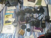 several Cameras and equipment