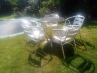 Bistro Set - Aluminium Table with 5 Chairs
