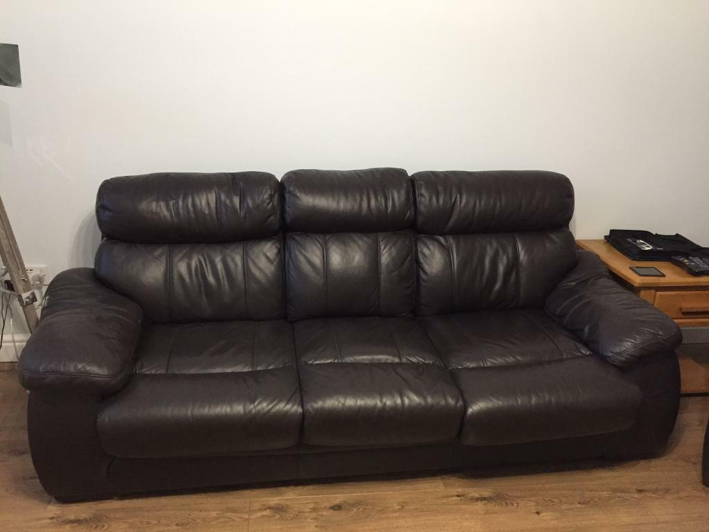 Dark Chocolate Brown Leather Sofa And Chair