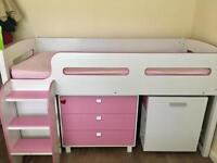 Girls bed with drawers, desk swivel chair and shelves
