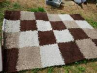 Patch brown and beige rug