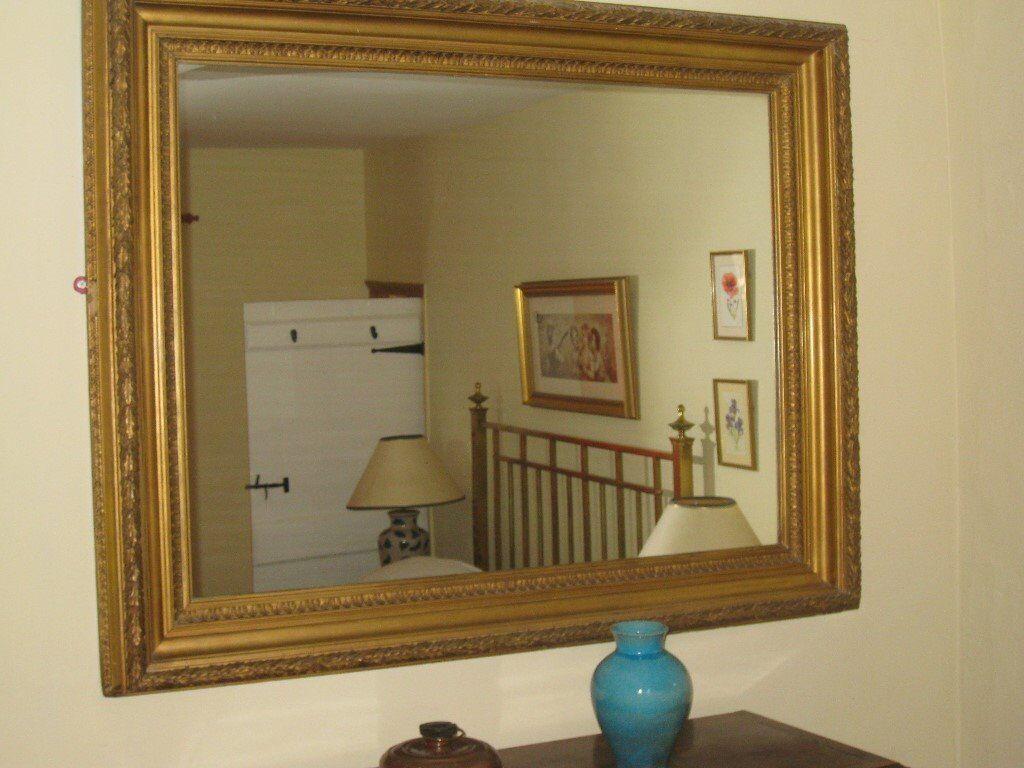 3ab266c498f8 Antique Large Gilt Framed Mirro