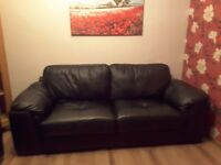 SCS Santiago Black Leather 3 + 2 sofas and footstool