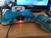 N64 Nintendo 64 ice blue & clear console and game