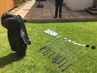 MDD Golf Clubs 1 and 5 woods, irons 3 - SW, putter , bag and 50 balls