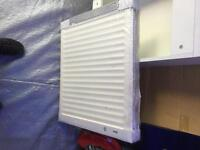 600x600 radiator brand new double with fittings in white cost £80 take £40