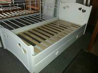 A brand new white finish hearts single bed frame with drawer.