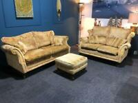 Wade velvet suite Gold and Red 3 seater 2 seater sofa and pouffe