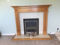 oak effect veneered fireplace surround and flame effect dimplex electric fire