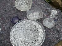 Lead crystal glassware including a decanter (and heavy purple ashtray)