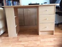Beech wood effect desk with 3 drawers and 3 shelves