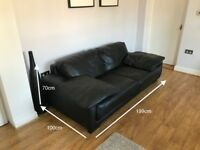 Black leather two seater sofa (originally bought for £1999)