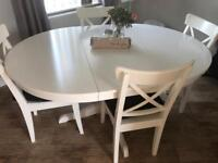 White extendable table and chairs - seats up to 6 comfortably