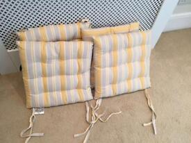 4 x Yellow and grey seat chair cushions