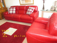USED SOFA ITALIA SUITE LARGE 3+1 IN RED LEATHER USED in n wales