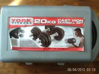 YORK 20kg dumbell set,cast iron