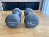 PROIRON Neoprene Dumbbells set - 5kg Grey
