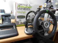 xBox 360 WIRELESS Madcatz Mad Catz Gaming Racing Steering Wheel & Pedals BOXED