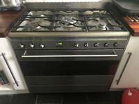 Stainless Steel 90cm Dual fuel SMEG Range oven with Extractor