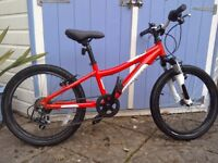 Adventure 200 Children's Mountain Bike - Red/White, 20 Inch Wheel, 6 Gears, Alloy Frame, Hardly Used