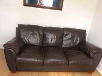 Excellent condition 3 seater chocolate brown sofa and armchair, collection gillingham