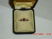 REDUCED! 9CT GOLD RING WITH REAL RUBY AND 2 REAL DIAMONDS, ONLY £90.00 ONO! FY1 AREA.