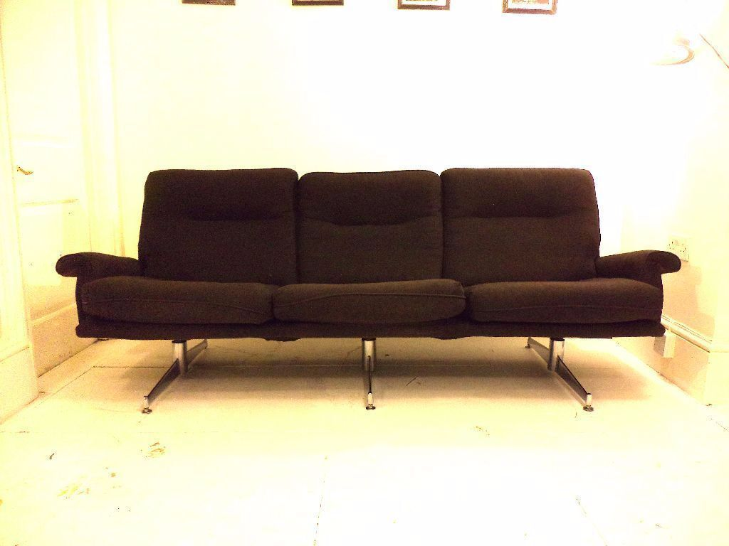 675 On Ebay Original Mid Century Howard Keith Hk 1970s Black Sofa Chrome Legs