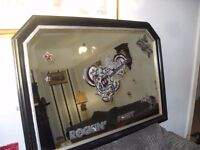 FABULOUS PUB MIRROR WITH ROCK n ROLL MUSIC THEME IN MAHOGANY FRAME SIZE 41 X 29 CAN DELIVER