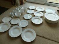 Kitchen tablewear plates,bowls,cups white