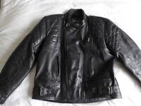 Rhino black leather motorcycle jacket, size 48