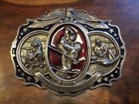 Vintage Championship Wrestling Belt Buckle ~ Used. 1985 Bergamot Brass Works ~ Made in USA