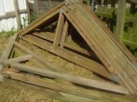 Roof trusses for double garage or workshop.