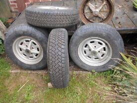 Wheels and tyres for Midget, Sprite, Morris Minor etc.