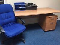 Brand New Office Desk, arm Chair and small drawer unit. Great condition, office work place