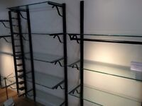 Bespoke Clothing Shop Fittings (Will Fit Out Whole Shop)-Black Metal Hanging Rails and Glass Shelves