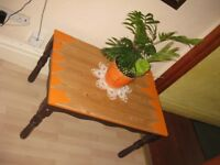 Super cool real wood table painted+ waxed (upcycled project)- size: L-84cm, W- 57.5cm, H-49.5cm