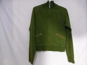 lululemon dark green zip up front sweatshirt with collar cool design with zip front pockets size 10 BNWOT