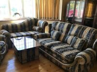 Sofa,chaise lounge armchair and table