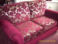 Three Piece Suite with matching Pouffe