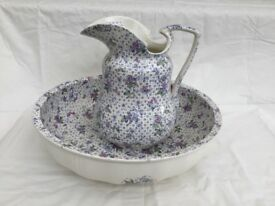 Antique Minton Washbowl and Pitcher Set