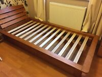 Solid pine single bed frame with headboard and under bed storage