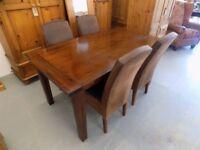 Dark Brown Hardwood Dining Table & 4 Chairs