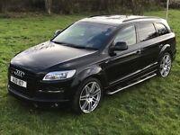 """Audi Q7 S line 3.0 Black, Pan Roof, 22"""" alloys, side steps, TV/DVD, Sat Nav"""