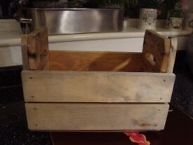 Wooden Handled Crate from reclaimed wood