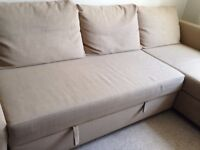 Three seater L shape Beige colour Sofa bed with storage - in excellent condition