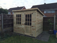 8x6 Pent Garden Office Shed Georgian Summerhouse Tanalised T&G Pressure Top Quality